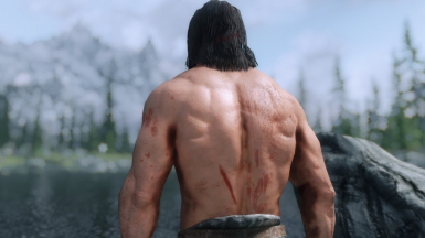 Getting hurt in battles has a chance to leave you covered in blood