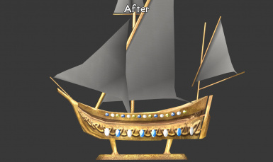 Created a new sail cloth texture instead of upscaling (upscaled results almost separated my mind and body)