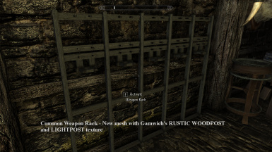 Common Weapon Rack   New mesh with Gamwich s RUSTIC WOODPOST and LIGHTPOST texture