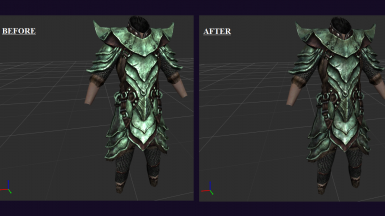 Practical Female Armor with Darker Orcish Armor tweak, before-after comparison.