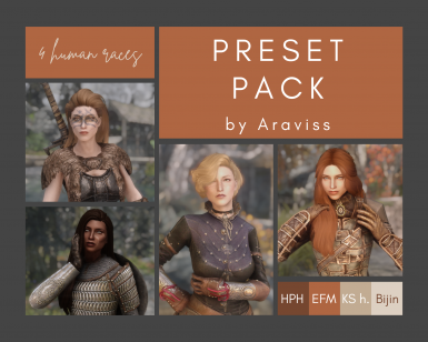 Araviss' presets (imperial redguard nord and breton)