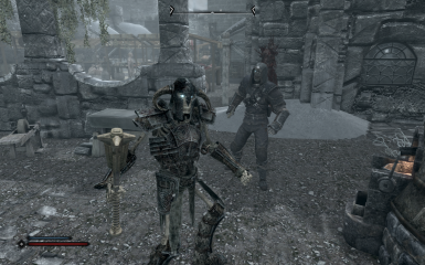 A Reinforced Skeleton Guardian and a Corpse Guardian with some gear I gave him