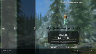 Caustic Oil I At Smithing Skill 25