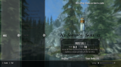 Frost Oil I At Smithing Skill 0