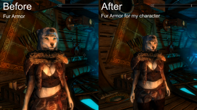 Before and After using unique armor