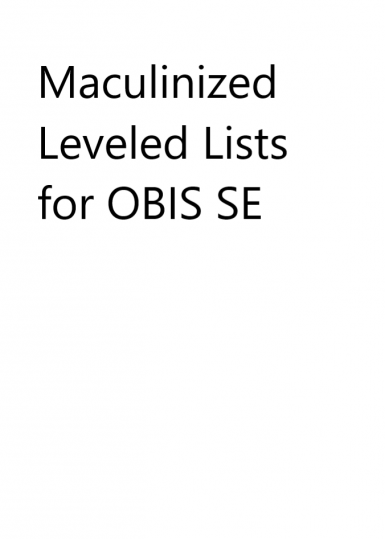 Masculinized Leveled Lists for OBIS SE