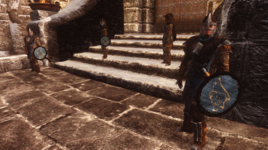 with Windhelm Guards wear Stormcloak Battle Armor Patch and Open faced Guard Helmets