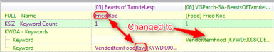 Example of keyword changes