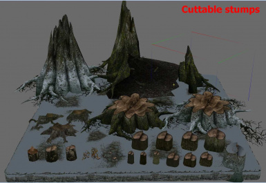 Cuttable trees - stumps