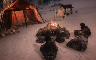 SS03 tent  campfire and followers