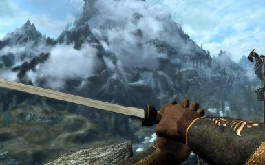 First person view of the sword and bracers