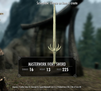 Masterwork Ivory Sword - normal and crude versions available