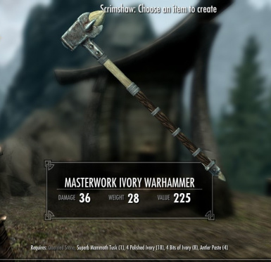 Masterwork Ivory Warhammer - normal and crude versions available
