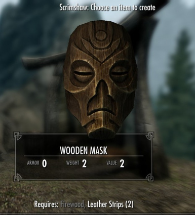 Not THE wooden mask but a normal one that you can enchant