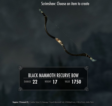 Black Mammoth Recurve Bow - requires Immersive Weapons and Immersive Weapons Patch