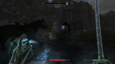 Lug and Shadowmere taking down a skeleton