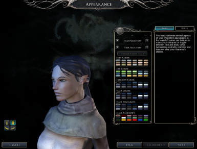 Default Female Moon Elf Used Ingame - One Of Many Combinations