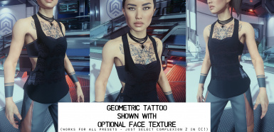 Geometric Tattoo With Face Retexture
