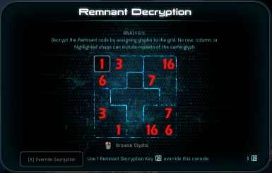 Remnant Sudoku Puzzle Glyphs to Numbers