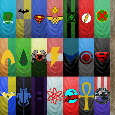 Justice League and particlepants banner