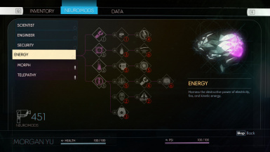 Example randomized neuromod skill tree, with all scans unlocked