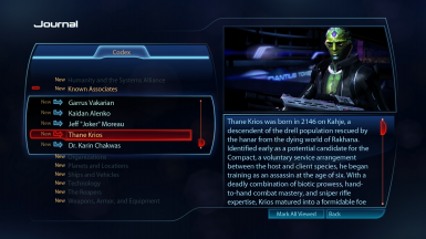 Thane Krios Codex