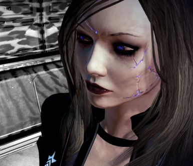 Blue and Purple Renegade Scars for Femshep