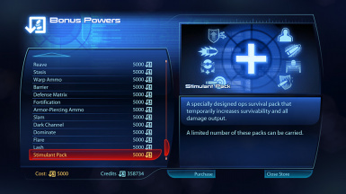 Stimulant Pack appearing in the MedBay's bonus power terminal