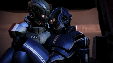 MaleShep carrying Kaidan in his arms