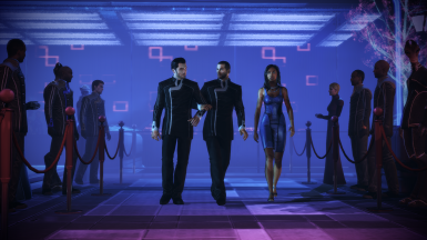 MaleShep and Kaidan walking arm-in-arm in Citadel DLC