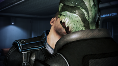 MaleShep and Thane kiss