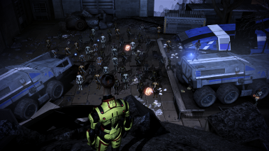 Better representation of Salarian forces. Shuttle drops off additional troops.
