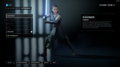 Rey preorder skin as default - hooded skywalker