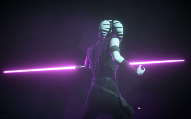 female jedi or sith twi'lek with double bladed purple lightsaber