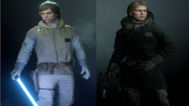 Han and Luke Hoth Outfits without Helmet