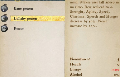 Lullaby potion UI