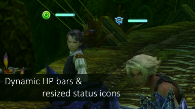 Dynamic HP bars and resized status icons (compatibility issues with 1.0.4)
