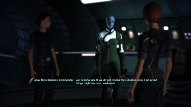 Ashley and Liara confront FemShep