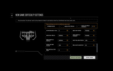 Advanced Difficulty Settings Menu