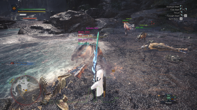 an overlay that shows lots and lots of stuff at Monster Hunter