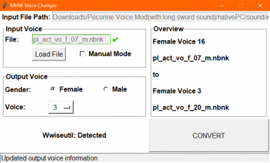 Example: Change from Female Voice 16 to Female Voice 3
