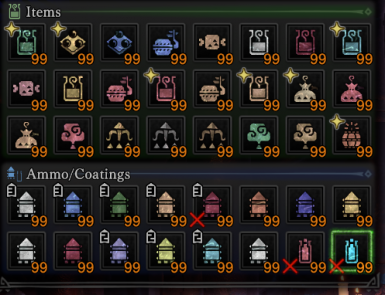 99 Items In Pouch And Or Unlimited Consumables And Infinite Buff Duration