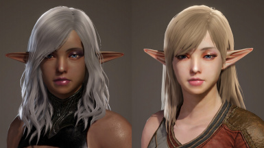 Elf ears 1 (left) and 2(right). Default lip size.