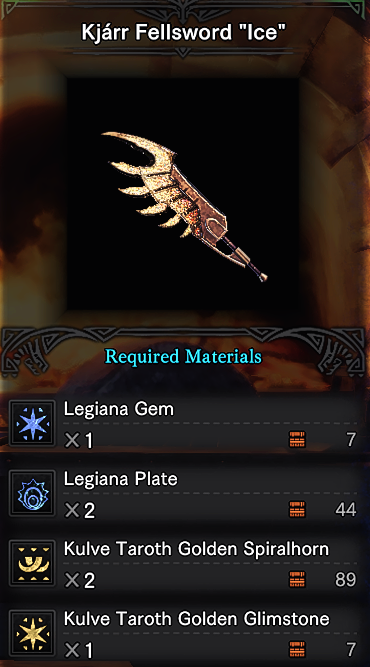 Accesible Recipes Craftable Kjarr Weapons at Monster Hunter