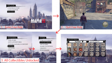 Mafia 2 MOD All Collectibles Unlock Cheat (free ride)