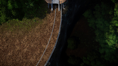 The moat near the T-Rex paddock into which the Explorer falls