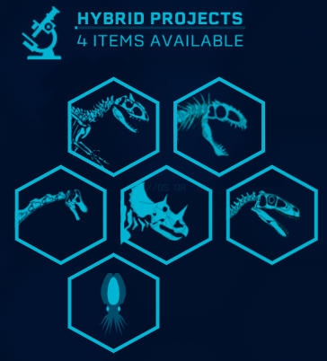 Skeletal icons for the new dinosaurs and the hybrids, available as an optional file.