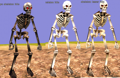 Optional skeleton textures. Skeletons in-game appear less bright