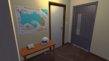 Hall with phone and map