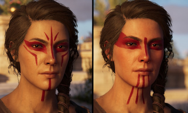 Hunter and Master Artemis Face Paint on Kassandra's Default Flesh
